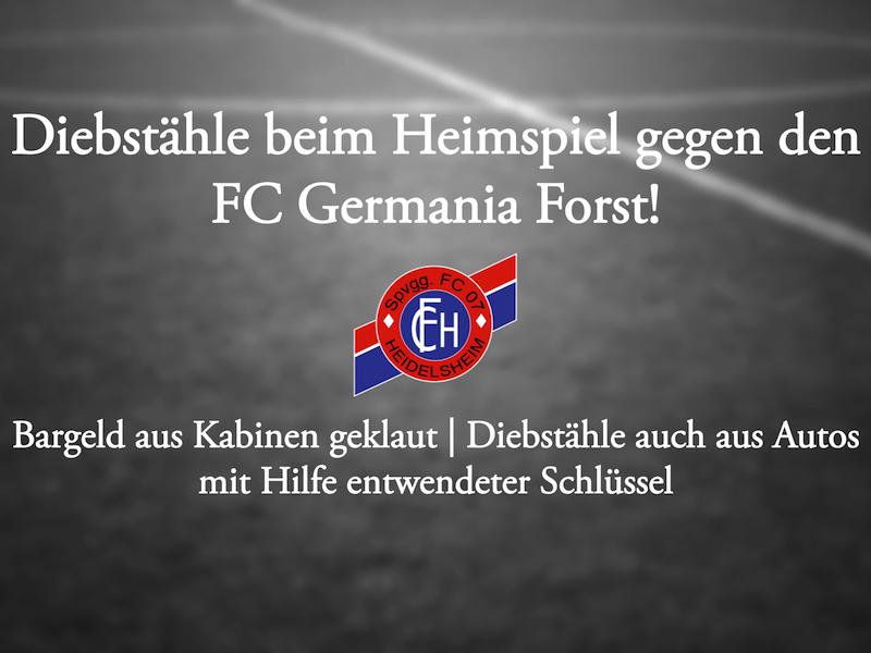 Diebstähle beim Spiel gegen den FC Forst!