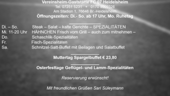 Neue Wochenkarte im FC 07 – Clubhaus! sky auf Großbildleinwand!
